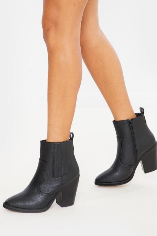 black pu ankle cowboy boots