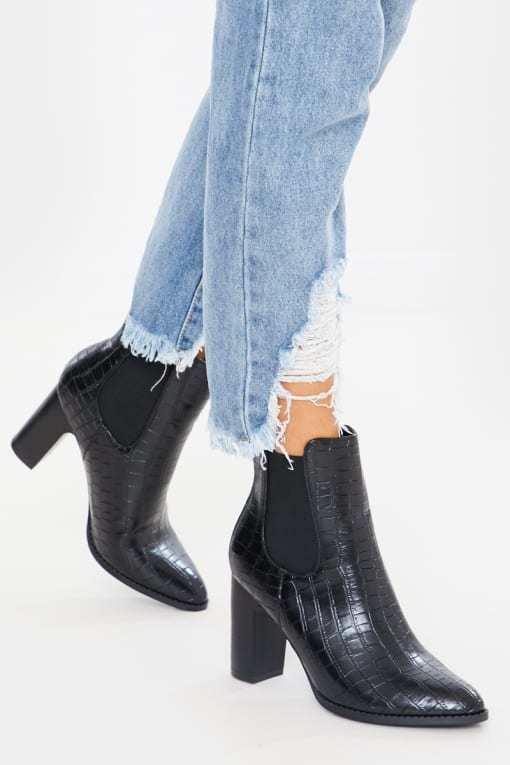 black pu croc heeled ankle boots