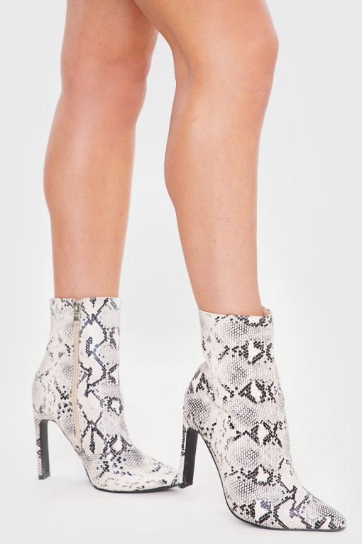 GREY SNAKE PRINT POINTED HEELED ANKLE BOOTS