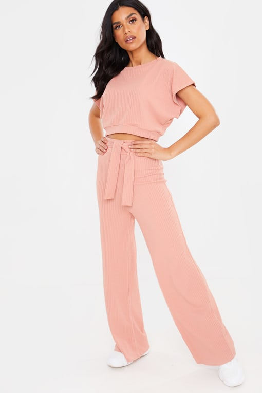 ROSE PINK TEXTURED CROP TOP AND TIE WAIST TROUSER LOUNGEWEAR SET