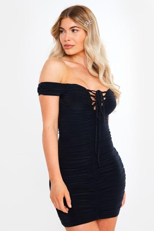 black slinky bardot ruched mini dress