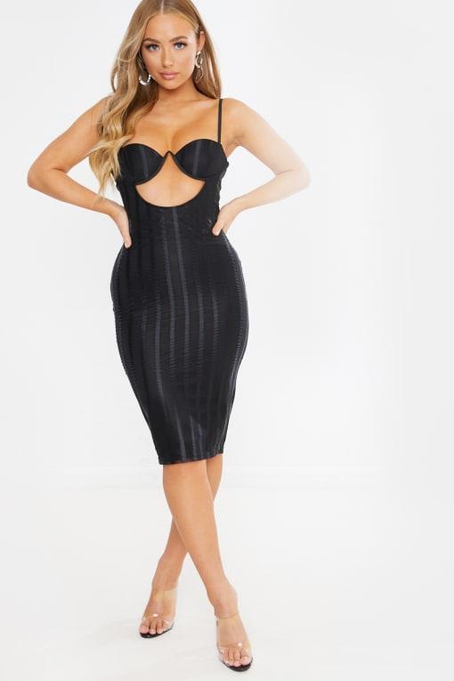 black underwired cut out mesh stripe midi dress