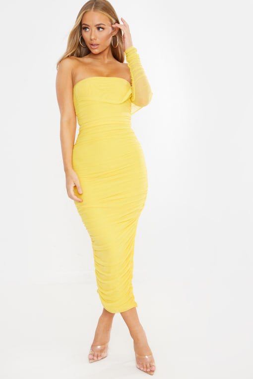 yellow one shoulder ruched mesh midi dress