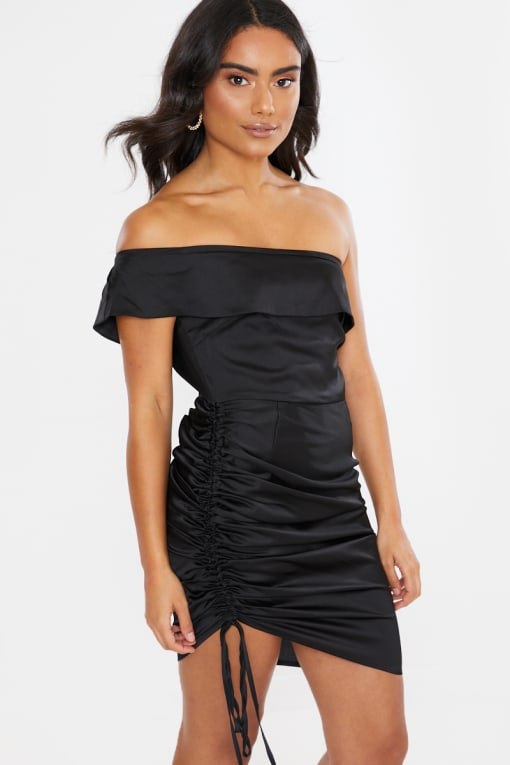 BLACK SATIN RUCHED BARDOT MINI DRESS