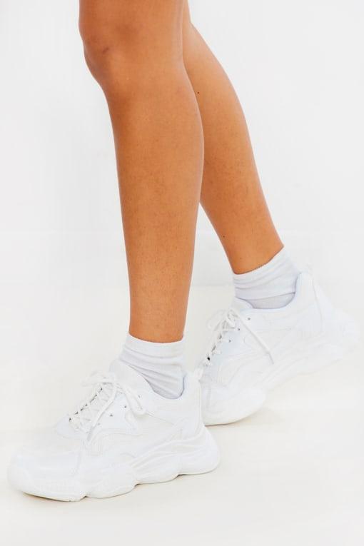 WHITE PU CHUNKY PANELLED TRAINERS
