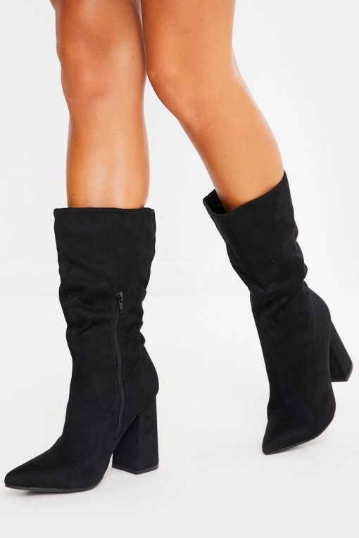 BLACK FAUX SUEDE RUCHED CALF HEELED BOOTS