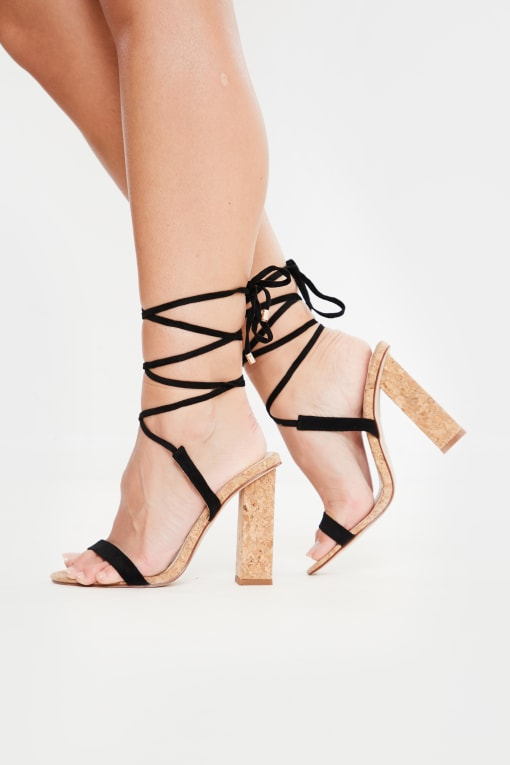 black lace up cork heels