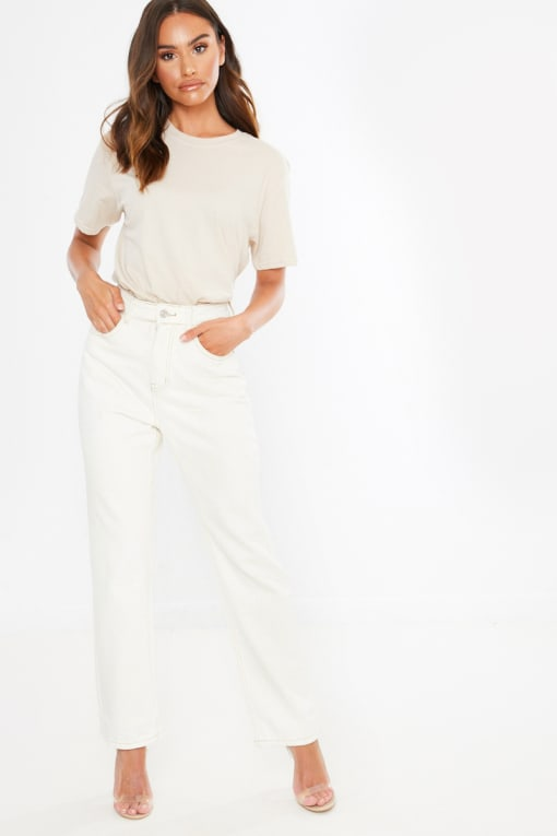 cream wash contrast stitch straight leg jeans