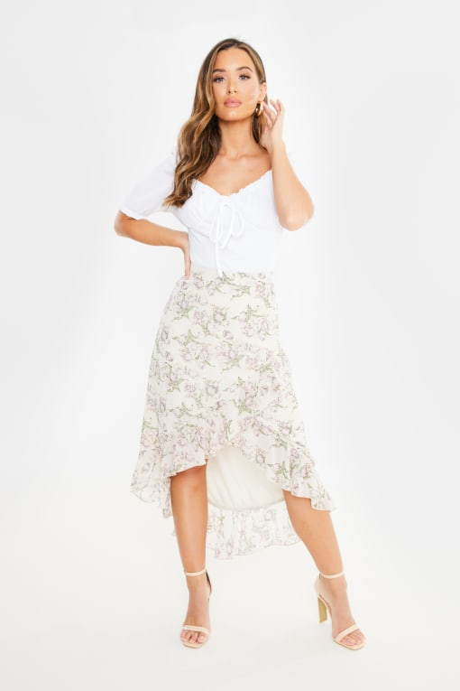 nude floral print frill detail wrap skirt