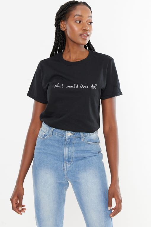 BLACK WHAT WOULD OVIE DO? SLOGAN TEE