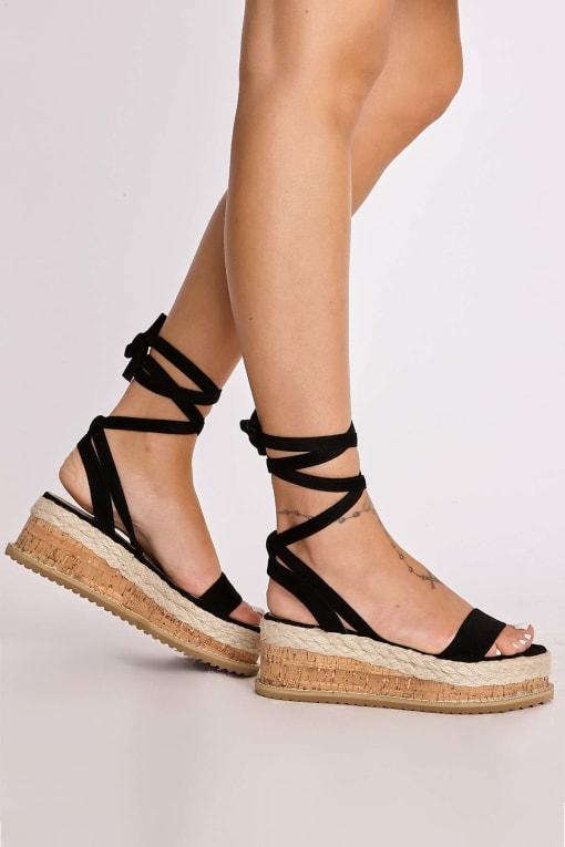 black faux suede tie leg platform espadrilles