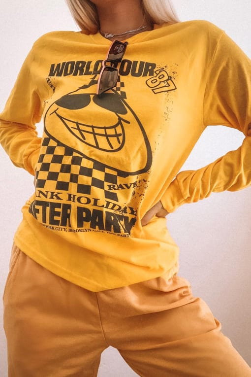 LOTTIE TOMLINSON YELLOW WORLD TOUR LONG SLEEVE LOUNGE T SHIRT