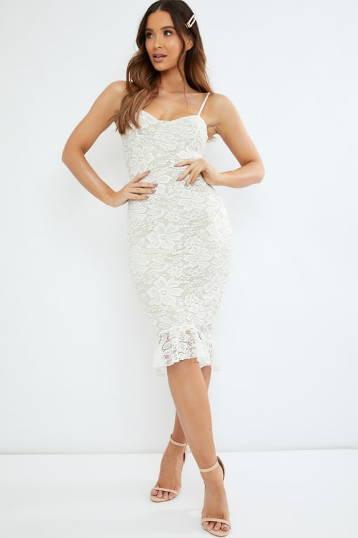 white lace peplum hem midi dress