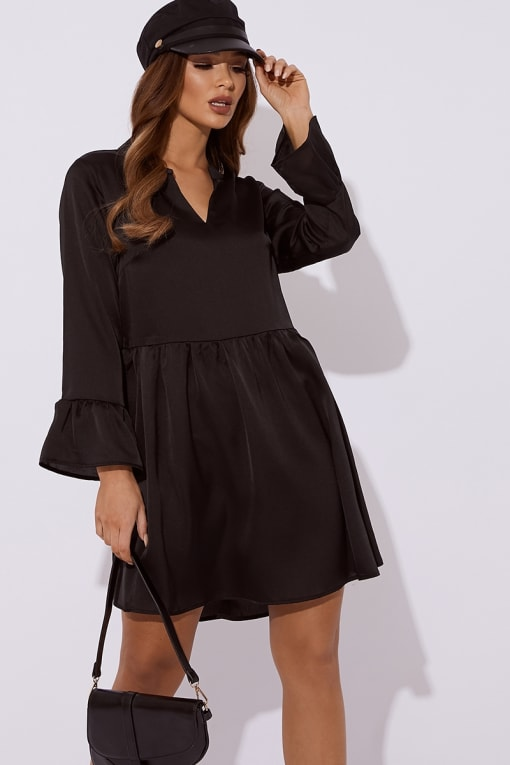 black satin plunge smock dress