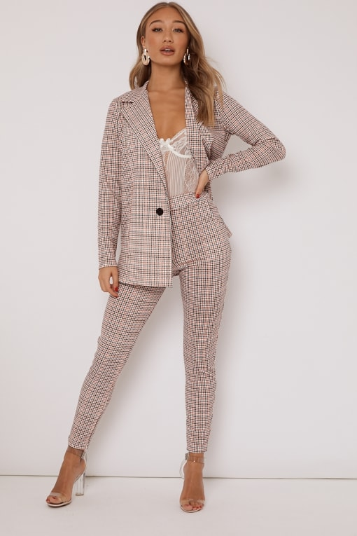 orange dogtooth check trousers co ord