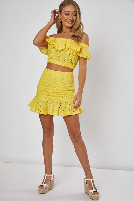 yellow frill hem detail co-ord mini skirt