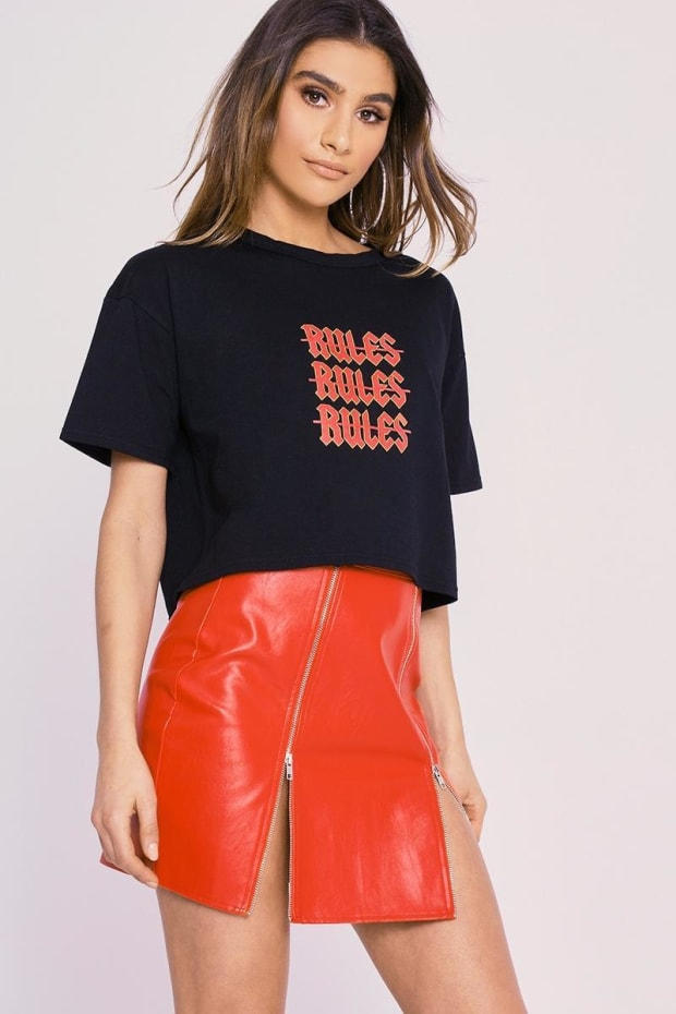 CHARLOTTE CROSBY RED FAUX LEATHER ZIP FRONT MINI SKIRT