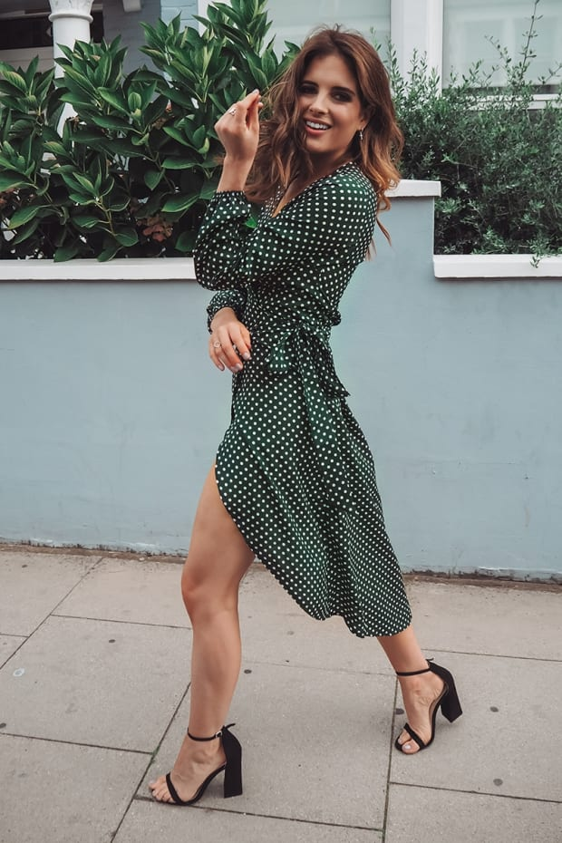 b73423e89533 Binky Green Polka Dot Wrap Front Midi Dress | In The Style