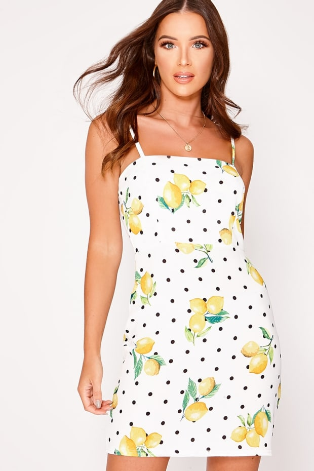 RAILIE LEMON POLKA DOT SQUARE NECK BODYCON DRESS
