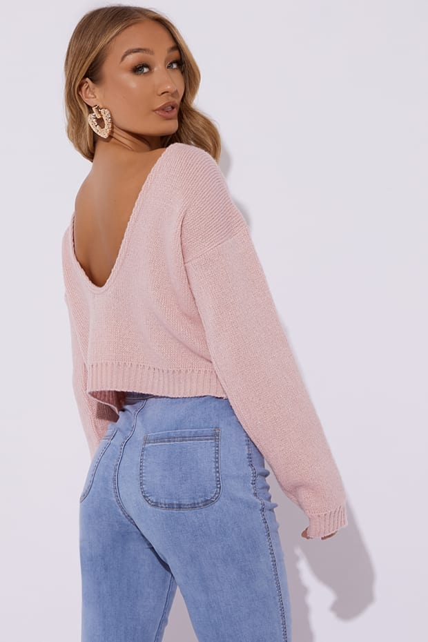 NAIMA BLUSH BRUSHED V BACK CROPPED JUMPER