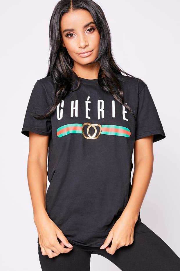 4dcef689 Cherie Black Slogan Boyfriend T Shirt | In The Style
