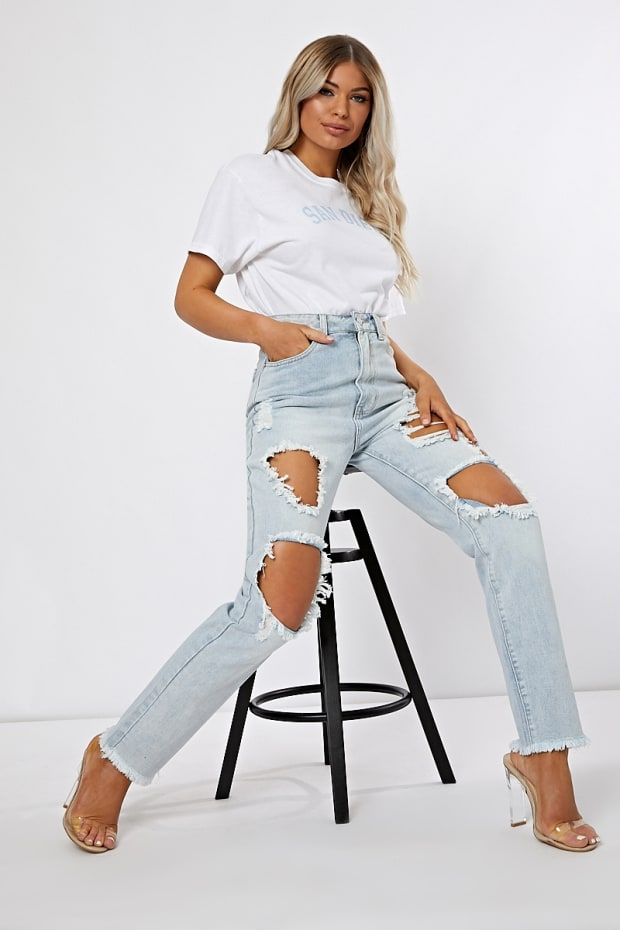 MAVRIC LIGHT BLUE EXTREME DISTRESSED RIP JEANS