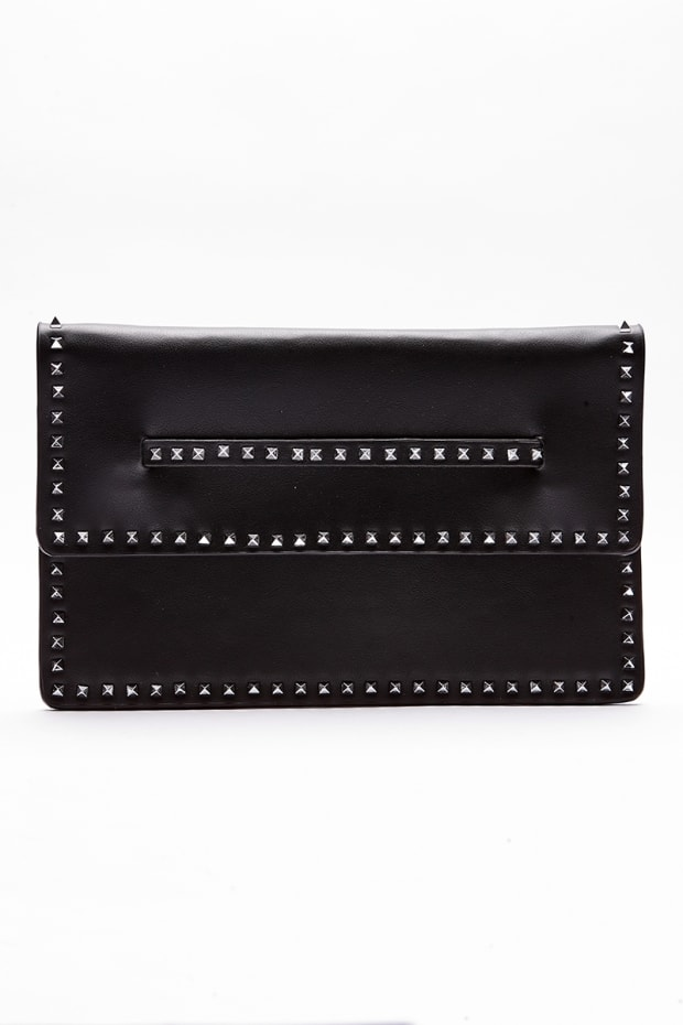 BLACK FAUX LEATHER STUD CLUTCH BAG