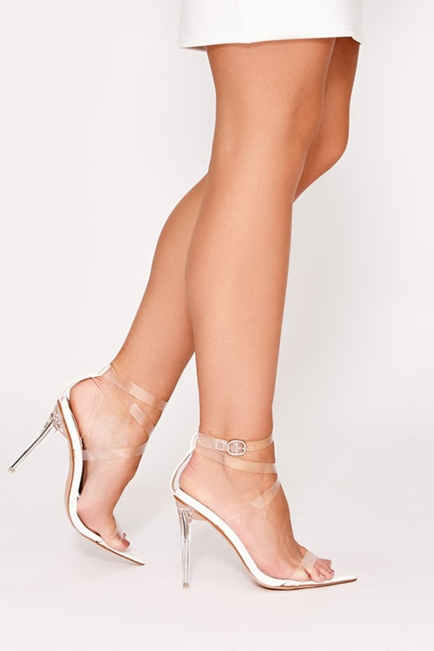 VALARIA WHITE CLEAR STRAPPY POINTED DETAIL HEELS
