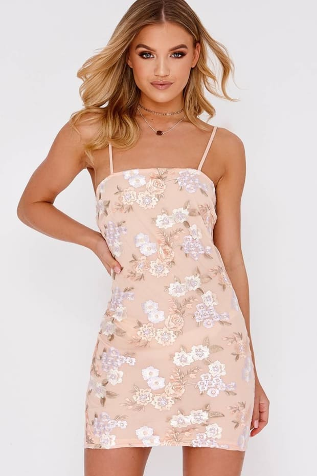 dc330374f9ea Ekala Pink Floral Embroidered Cami Bodycon Dress   In The Style