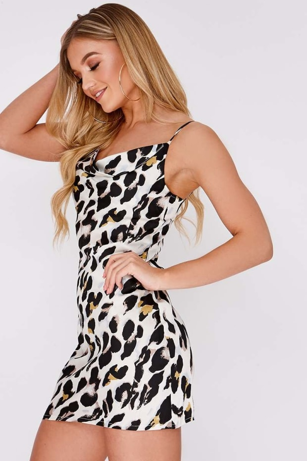 c58c896ae0da Bryd White Leopard Print Satin Cowl Neck Mini Dress | In The Style