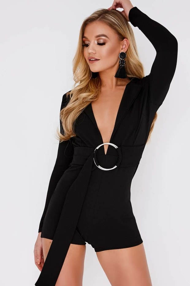 CAINDACE BLACK PLUNGE BLAZER RING DETAIL PLAYSUIT