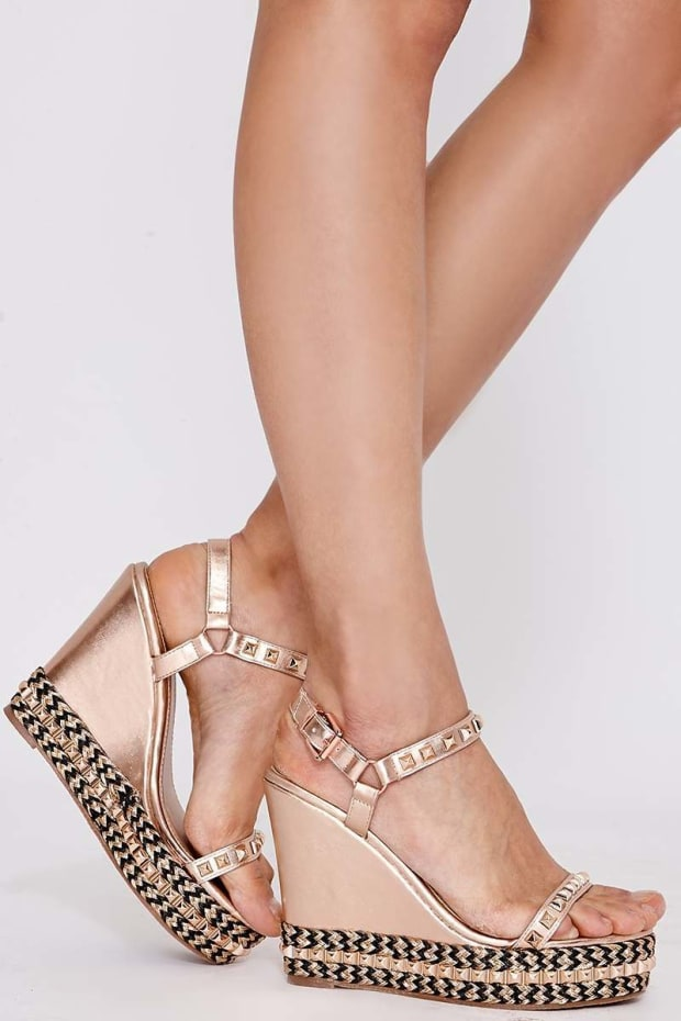 PAIDI ROSE GOLD FAUX LEATHER WEDGE HEELS