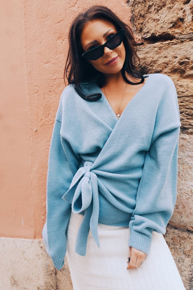 9c41317fc51 Lorna Luxe 'but First' Blue Wrap Cardigan | In The Style USA