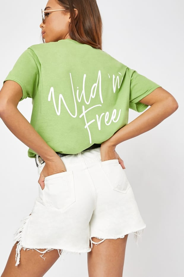 31d20b601cc Shoptagr | Wild & Free Lime Oversized T Shirt by In The Style