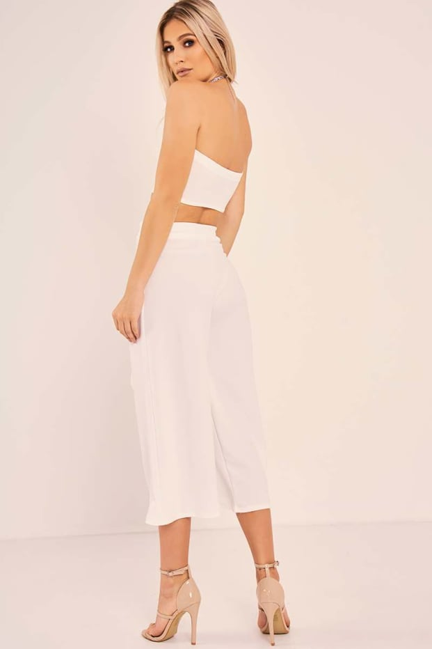 07c9e6f584a ALEXIE WHITE BANDEAU CROP TOP AND CULOTTES CO ORD | In The Style