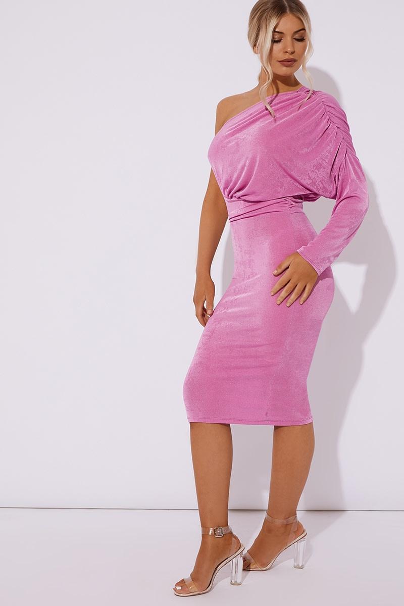 pink one shoulder acetate slinky midi dress