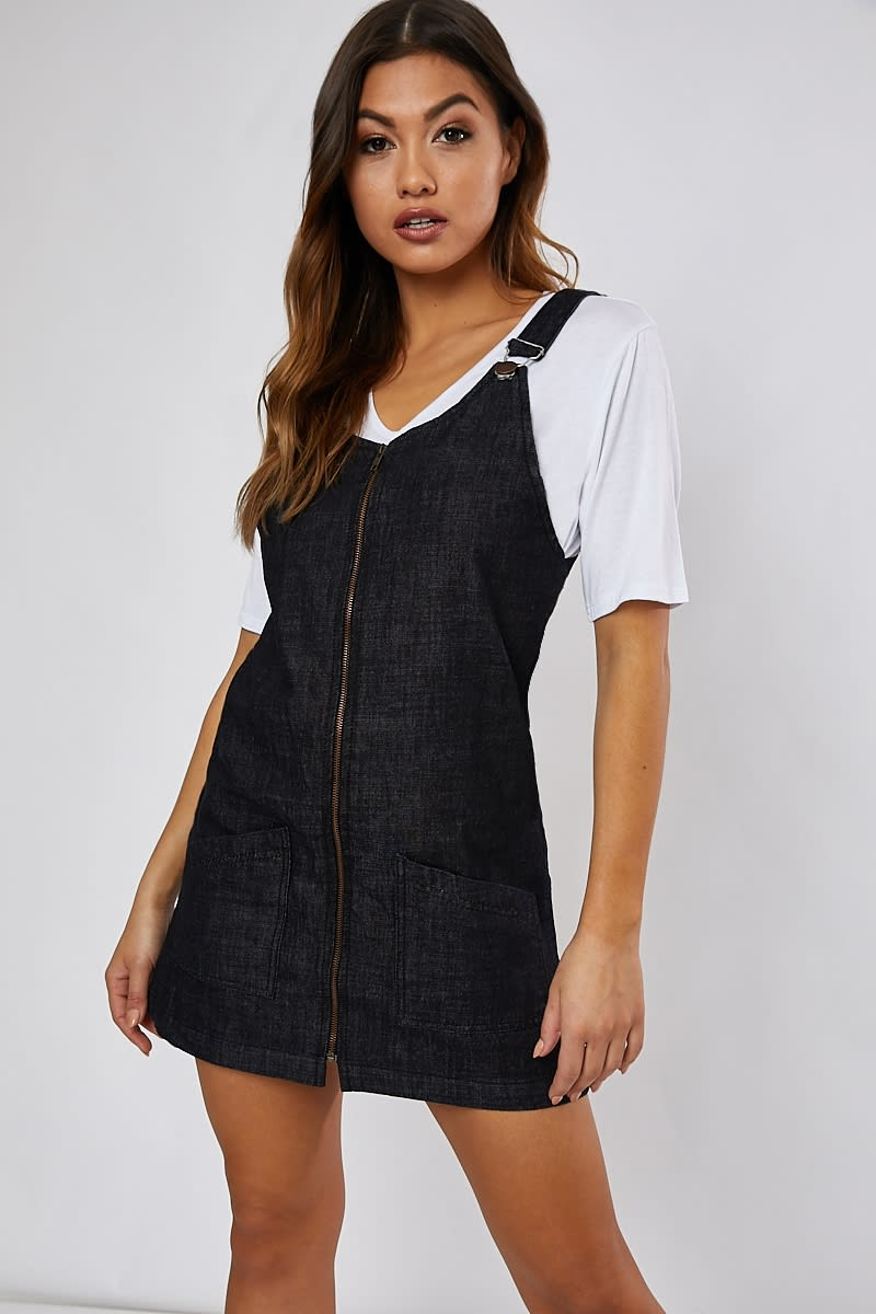 black denim zip through pinafore dress