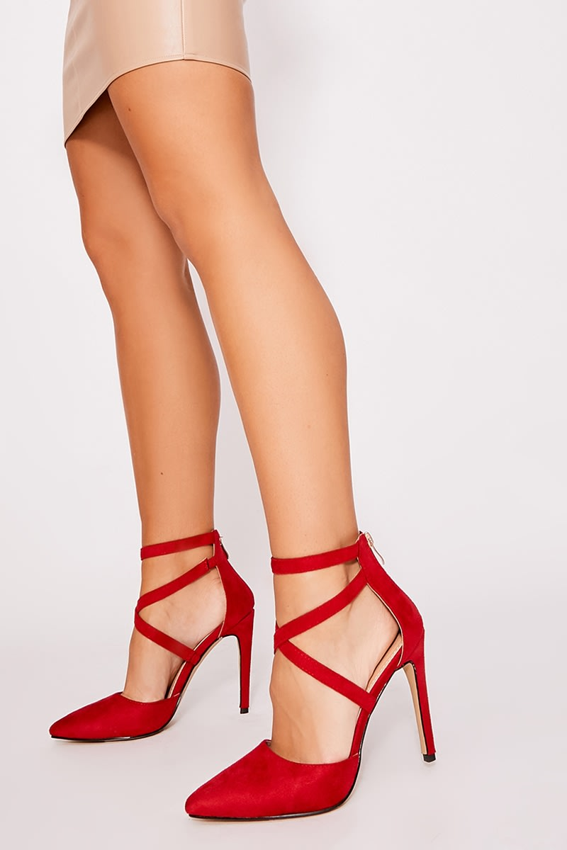 red faux suede strappy court heels