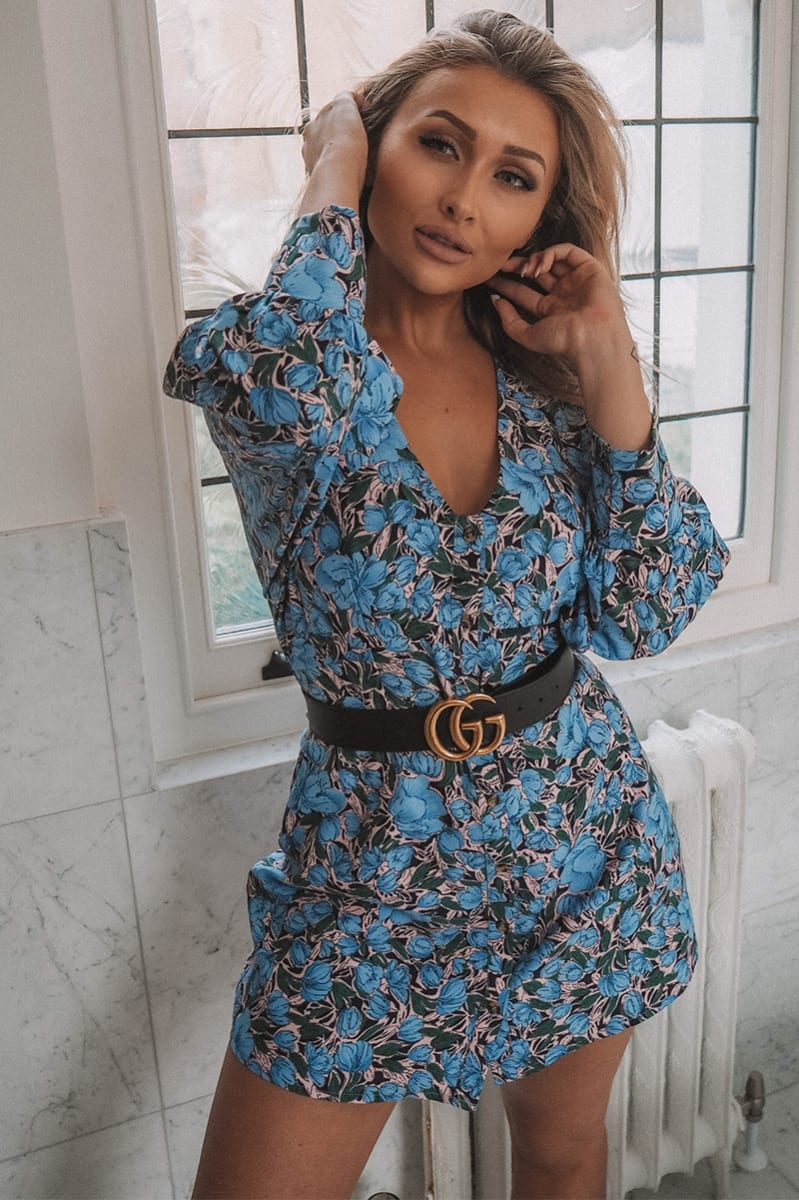 blue floral button down a line dress