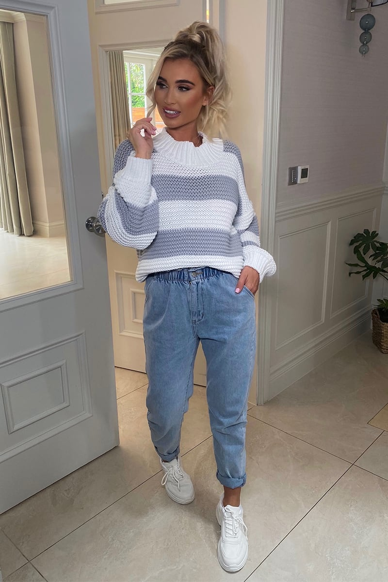 BILLIE FAIERS BLUE LIGHTWASH PAPERBAG JEANS