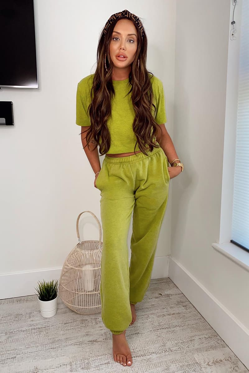 CHARLOTTE CROSBY WASHED LIME PREMIUM JOGGERS