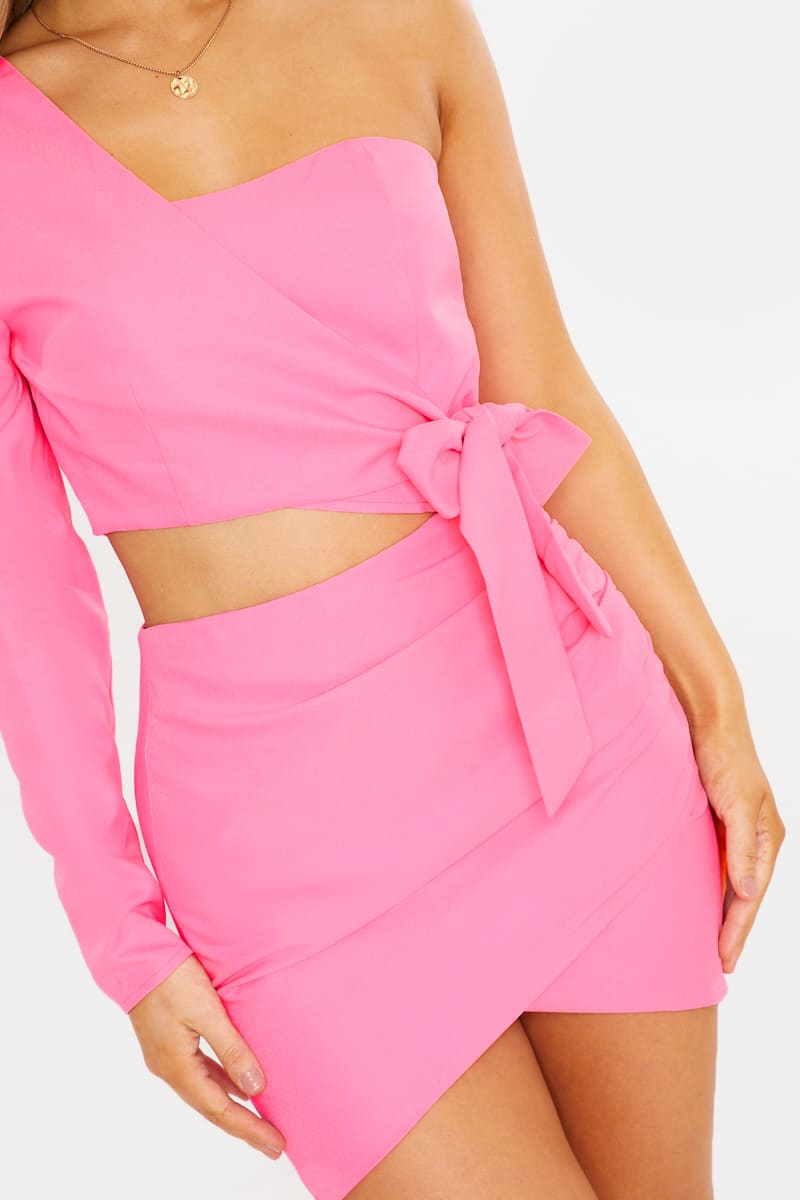 CHARLOTTE CROSBY PINK ASYMMETRIC MINI DRESS WITH WRAP TIE WAIST