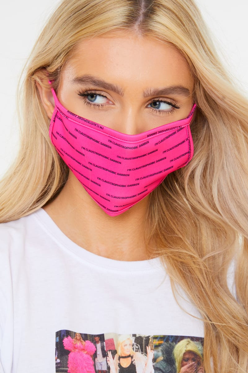 GEMMA COLLINS PINK 'CLAUSTRAPHOBIC' SLOGAN FACE MASK