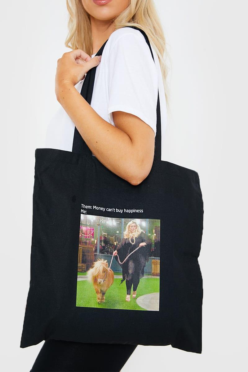 GEMMA COLLINS BLACK 'MONEY CAN'T BUY HAPPINESS' MEME TOTE BAG