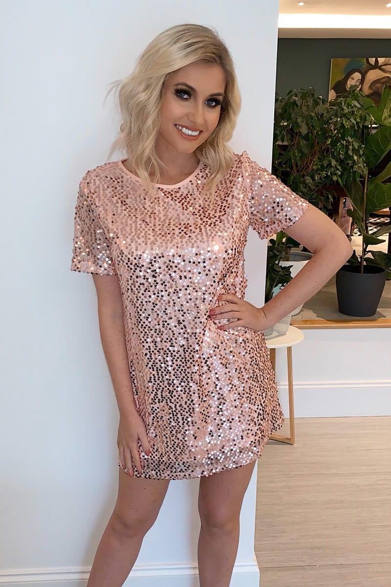 rose gold sequin t shirt dress