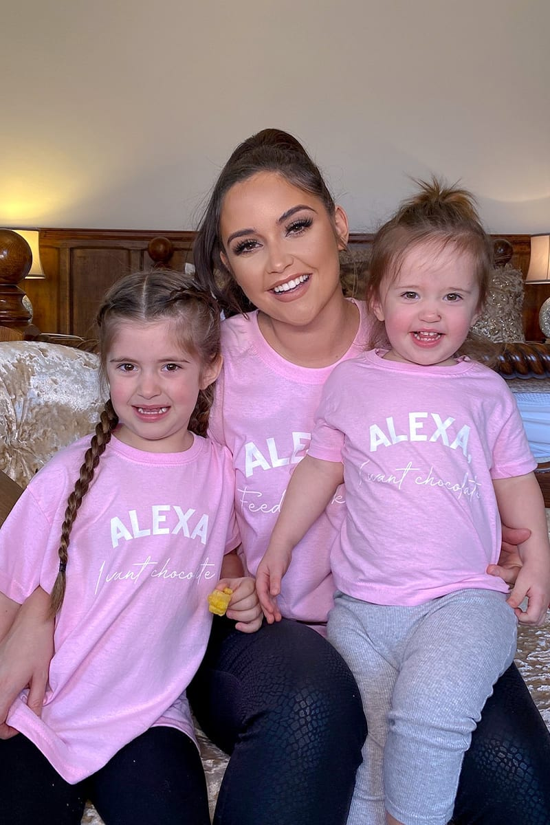 KIDS PINK 'ALEXA I WANT CHOCOLATE' OVERSIZED T SHIRT