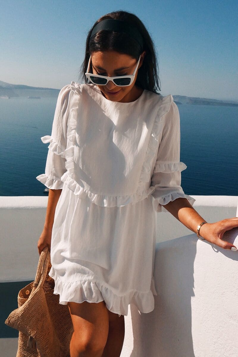LORNA LUXE WHITE 'GIRL'S GIRL' RUFFLE MINI DRESS
