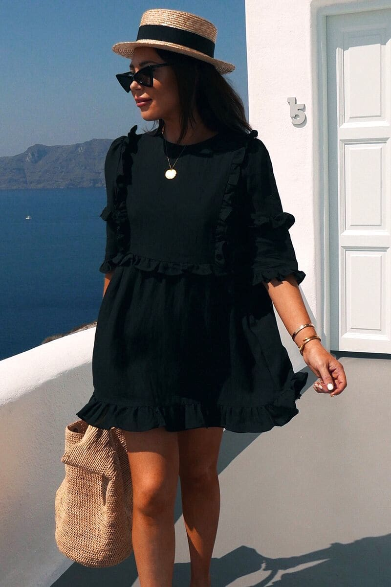LORNA LUXE BLACK 'GIRL'S GIRL' RUFFLE MINI DRESS