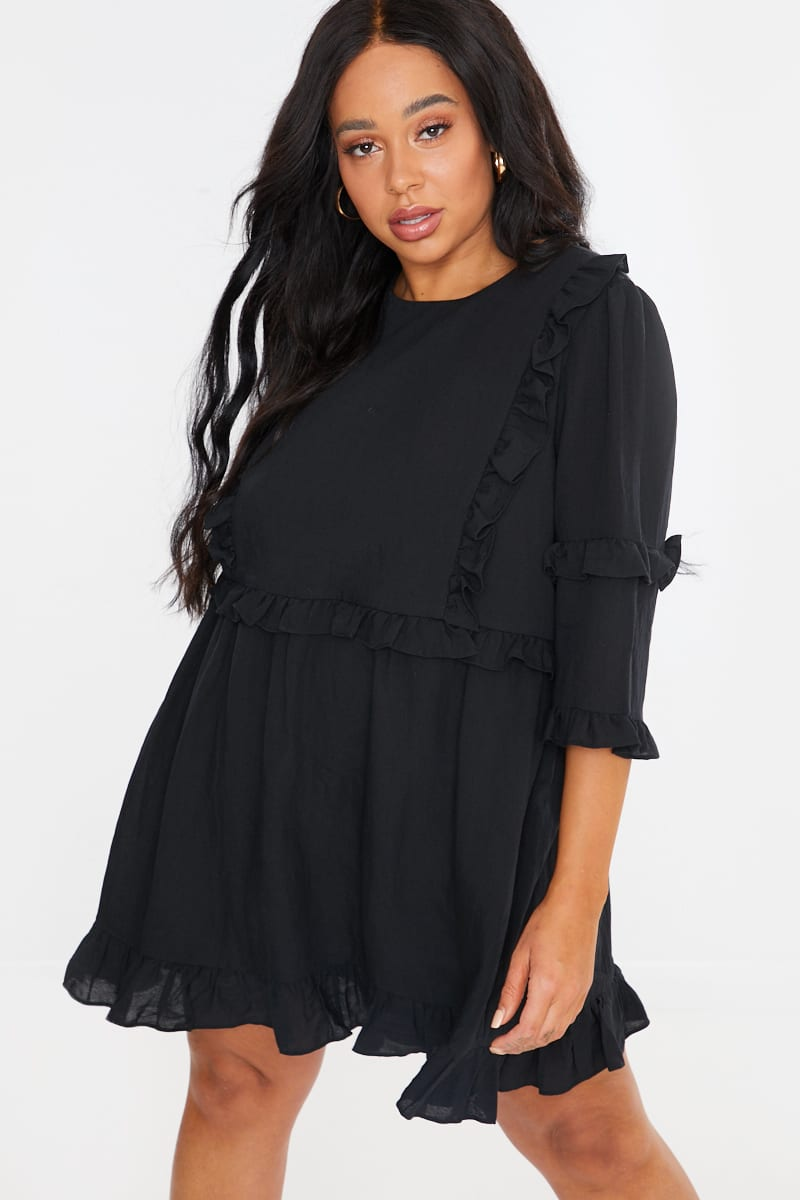 CURVE LORNA LUXE BLACK 'GIRL'S GIRL' RUFFLE MINI DRESS