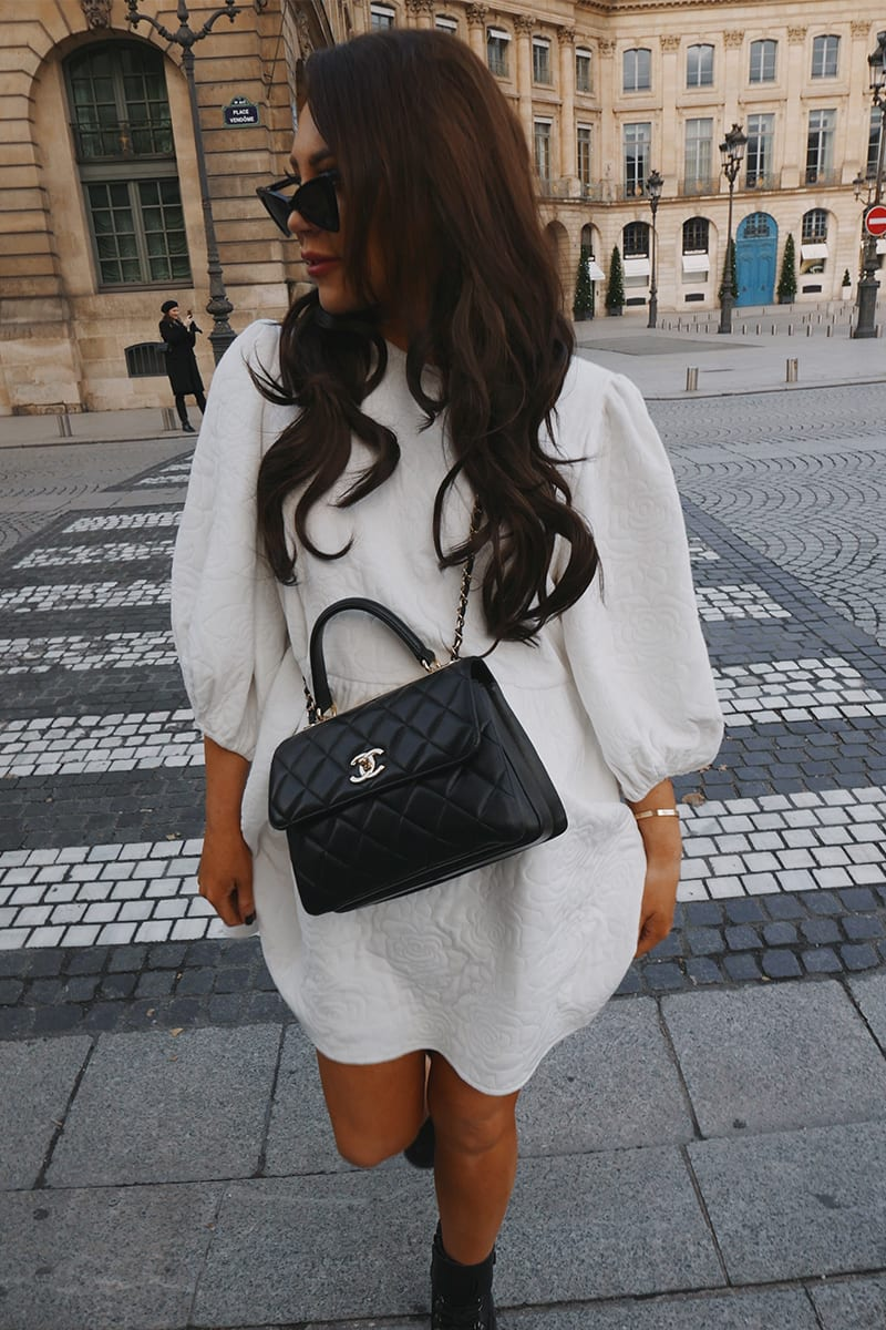 LORNA LUXE PREMIUM 'HANNAH' OFF WHITE QUILTED OVERSIZED BALLOON SLEEVE TRAPEZE DRESS